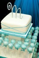 One layer cake, rest cake pops... trendy AND traditional! Bridal shower cake!
