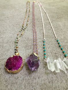 14k gold dipped deep purple druzy pendent by CatchingWildflowers
