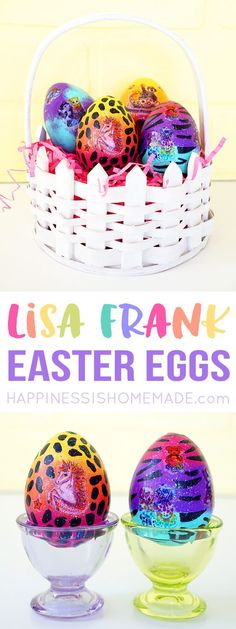 Flash back to the 80's and 90's with these fun Lisa Frank Easter Eggs, a quick and easy Easter craft made with colorful and glittery temporary tattoos! Fun for kids of all ages! via @hiHomemadeBlog