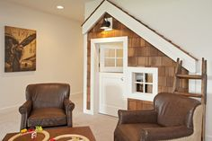 Transform the space under the basement stairs into your kids' dream playhouse. PLUS great family room/basement ideas
