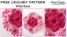 Wild Rose Free Crochet Pattern – Right Handed - Knitting Bordado Love Crochet, Crochet Motif, Diy Crochet, Crochet Designs, Crochet Flowers, Hand Crochet, Crochet Hooks, Hand Knitting, Crochet Patterns