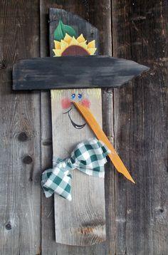 Rustic Scarecrow Wood Scarecrow Fall Door Art by kathleenmelville1