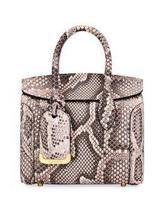 ce0d319b4240 Heroine 30 Python Satchel Bag, Beige by Alexander McQueen at Bergdorf  Goodman. #AlexanderMcQueen