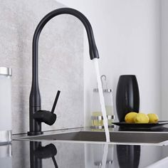 The matt black finish featured on this Milano sink mixer tap will make statement in your modern kitchen Black Kitchen Faucets, Kitchen Mixer Taps, Sink Mixer Taps, Bronze Kitchen, Quartz Sink, Black Sink, Black Taps, Hudson Reed, Designer Radiator