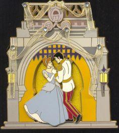 Disney Cinderella & Prince Dancing in Front of Castle Jumbo LE Pin in Box RARE