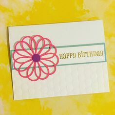 Birthday Card Pink Flower by PrettyWittyPaper on Etsy
