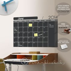 Monthly Wall Planner Chalkboard Decal - Free chalk ink pen