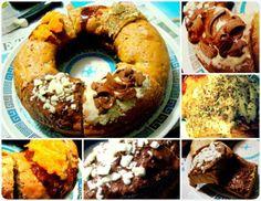 Cinnamon & orange sponge cake / Topping of chocolates, fresh oranges, molten sugar with orange rinds and cheese with oregano. #StephanosArt