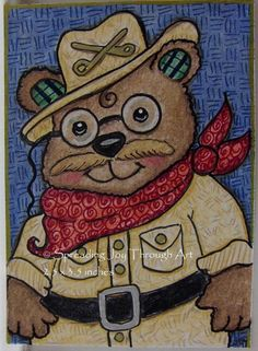 ACEO Original Art Joy President Teddy Bear Toy Roosevelt Glasses Mustache Cute  #Miniature