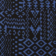 "Black Blue Arrows Eye Ethnic Cotton Spandex Knit Fabric - Super soft black and blue ethnic arrows and diamond eye design on a cotton spandex rayon blend knit.  Fabric is very smooth, with a soft hand, light to mid weight, with a good 4 way stretch.  Big diamond measures 3"" for scale.  ::  $7.50"