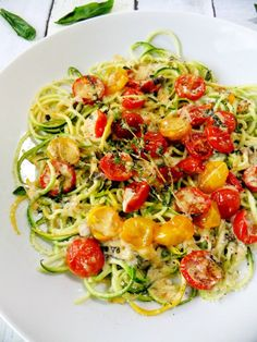 Zucchini Noodles with Slow-Roasted Cherry Tomatoes & Cream