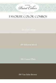 beachy paint color combos - all sherwin williams Thinking of Ethereal Mood for the bedroom and Coastal Plains for the bathroom!