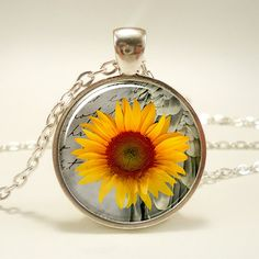 Sunflower Necklace Botanical Jewelry Flower Pendant by rainnua, $14.45