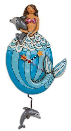 Mary Mermaid Holding Dolphin Coastal Pendulum Battery Wall Clock Allen Designs picclick.com
