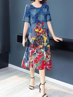 Vintage Folk Print Short Sleeve Midi A-line Chiffon Dress Folk Print, Printed Shorts, Chiffon Dress, Short Sleeve Dresses, Clothes For Women, Stuff To Buy, Vintage, Collection, Fashion