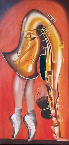 Jazz acrobatique à la peinture à l'huile - réalisé au Lézard Créatif de Royan