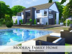 Modern Family Home by Pralinesims at TSR via Sims 4 Updates