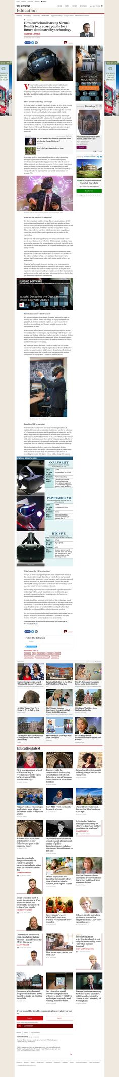 Credit: Author Graeme Lawrie Article title: How our school is using Virtual Reality to prepare pupils for a future dominated by technology Website title: The Telegraph URL: http://www.telegraph.co.uk/education/2017/01/23/school-using-virtual-reality-prepare-pupils-future-dominated/ For educational purposes. We have every intension to credit the original author/writer of this article. We will remove this article if asked to- MGZ VRZ