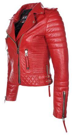 Women red leather jacket women biker leather by Myleatherjackets