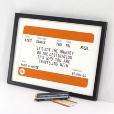 Personalised Train Ticket Print by Of Life & Lemons, the perfect gift for Explore more unique gifts in our curated marketplace. Ticket Printing, Leaving Gifts, Valentines Presents, Wedding Prints, Train Tickets, Romantic Love Quotes, No Name, New Quotes, Qoutes