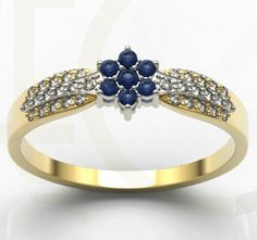 Pierścionek z białego i żółtego złota z diamentami i szafirami / Ring made from white and yellow gold with diamonds and sapphires / 1927 PLN #diamonds #gols #ring #sapphires #jewellery #jewelry