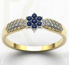 Pierścionek z białego i żółtego złota z diamentami i szafirami / Ring made from white and yellow gold with diamonds and sapphires / 1927 PLN #diamonds #gols #ring #sapphires #jewellery #jewelry