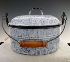 Vintage graniteware lunch pail baby blue miners pail from victoriascurio on Ruby Lane