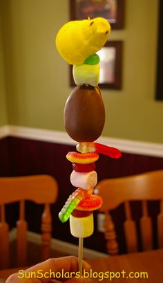 adorable Easter candy kabobs--Wrapped in cellophane, these are cute additions to any Easter basket.