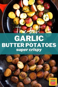 Garlicky, buttery, and oh-so-crispy, our Garlic Butter Potatoes make a delicious side dish for every meal from beef to chicken. Butter Potatoes, Twice Baked Potatoes, Cheesy Potatoes, Fried Potatoes, Easy Baked Potato, Potato Wedges Baked, Tasty Potato Recipes, Sunday Suppers