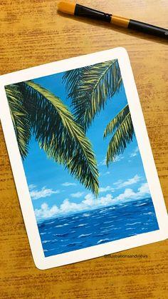 Simple Canvas Paintings, Small Canvas Art, Mini Canvas Art, Canvas Painting Tutorials, Diy Painting, Watercolor Art Lessons, Watercolour, Art Painting Gallery, Art Drawings Beautiful
