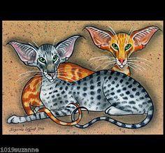 LARGE L.ED. ORIENTAL CAT PAINTING PRINT SUZANNE LE GOOD | eBay