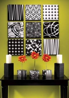 Easy way to decorate the walls… cover styrofoam squares with fabric