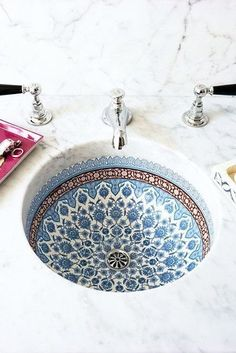 Bored of plain, white bathrooms? Add a touch of colour and intrigue to your bathroom with a patterned sink. A wonderful focal point which adds life to any bathroom.