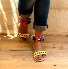 Pom pom sandals/ friendship sandals/ Leather by magosisters Boho Shoes, Boho Sandals, Strappy Sandals, Leather Sandals, Pom Pom Sandals, Boho Chic, Friendship, Flats, Spring 2015