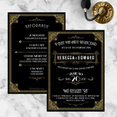 trouwkaart-great-gatsby-roaring-twenties Wedding Cards, Our Wedding, Wedding Invitations, Wedding Ideas, Roaring Twenties, The Twenties, Andrea Lewis, Dress Cake, Housewarming Party