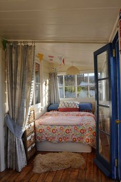 I like the idea of a bed room that is in clod able sections. Closet room leads to a simple room with just a bed. Sleeping Porch, Sleeping Nook, My Dream Home, Small Spaces, Bedroom Decor, New Homes, House Design, Interior Design, Bed Room