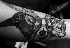 Deer crow dog tatoo