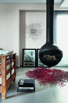 Urban (& minimal) living room- hanging fireplace