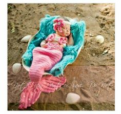 Mermaid crocheted baby hat and fins!
