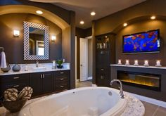 Tv In Bathroom Ideas Beautiful Decorating Ideas Luxury Bathroom Marble with Fireplace and Tv Tv In Bathroom, Bathroom Fireplace, Moroccan Bathroom, Dream Bathrooms, Beautiful Bathrooms, Master Bathrooms, Bathroom Ideas, Bathroom Marble, Luxury Bathrooms