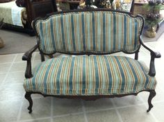 Gorgeous Antique Mahogany French Settee circa 19th by Chichesters, $795.00
