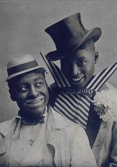 "Williams (left) & Walker, on the 1903 cover to the sheet music for ""I'm a Jonah Man"" (from the musical In Dahomey)"
