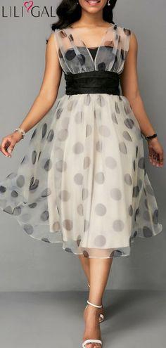 ffd3ca21d8 Dot Print High Waist Mesh Patchwork Dress  liligal  dresses  womenswear   womensfashion Modest