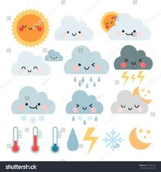 cute cartoon set with weather icons. Diy For Kids, Crafts For Kids, Weather Icons, Rainbow Painting, Simple Doodles, Busy Book, Kids Prints, Educational Toys, Cute Cartoon