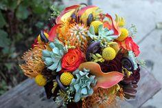 Wedding Flowers: Bright Pin Cushion Proteas!