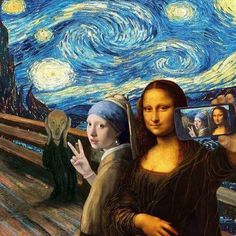 A famous painting ART selfie. The Scream by Edvard Munch, Starry Night by Vincent van Gogh, Girl With a Pearl Earring by Johannes Vermeer and Mona Lisa by Leonardo da Vinci. Arte Pop, Art Selfie, Selfie Time, Pop Art, Art Du Collage, Mona Lisa Parody, Photocollage, Funny Art, Funny Pics