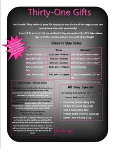Great ThirtyOne Black Friday deals! Www.mythirtyone.com/520398 Please email all orders to receive the discounts!