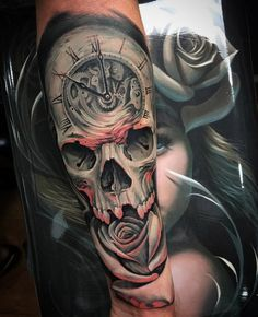 Clock, Skull & Rose Sleeve #tattoo #tatoo #тату www.tatoo24.wordpress.com