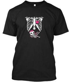 Womens Maternity Baby Girl  T Shirt Black T-Shirt Front