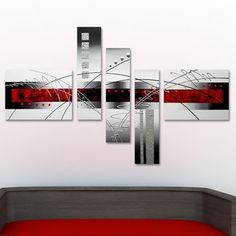 'Abstract Grey & Red' Hand Painted Canvas Art (5 Pieces)